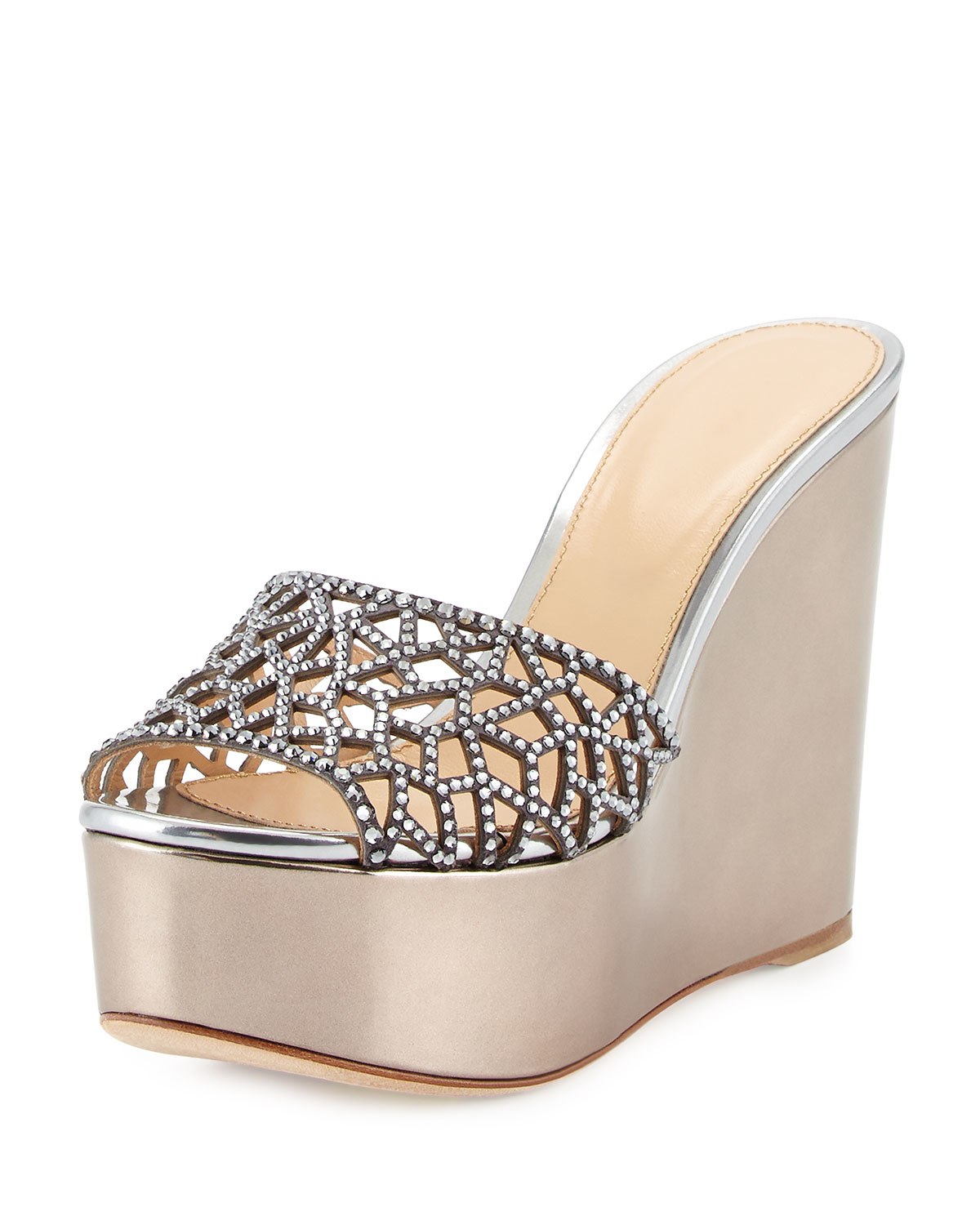 2c9f44374274 sergio rossi tresor strass crystal metallic wedge slide sandal in