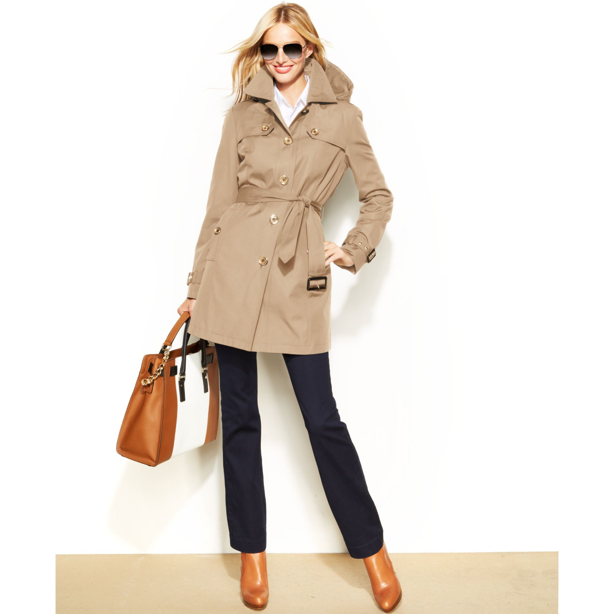 7c5bf2357 Michael Kors Michael Hooded Belted Trench Coat in Natural - Lyst