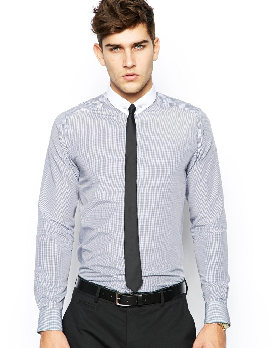 Asos smart shirt in long sleeve with check and tie pin in for Shirt and tie for men