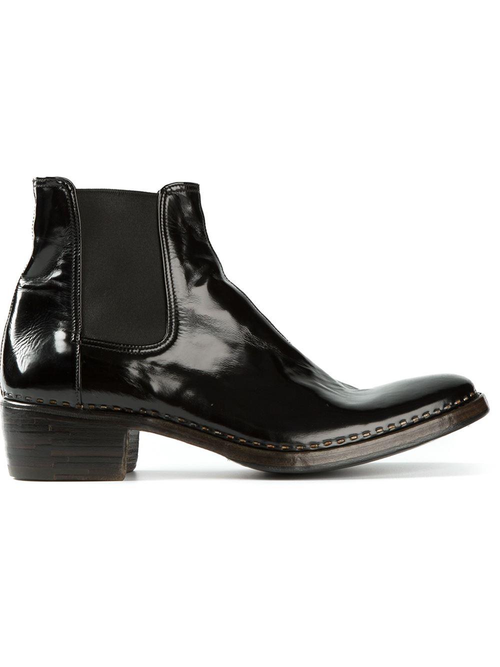 Fantastic Black Patent Leather Oil Slick Chelsea Boots Women Shoes