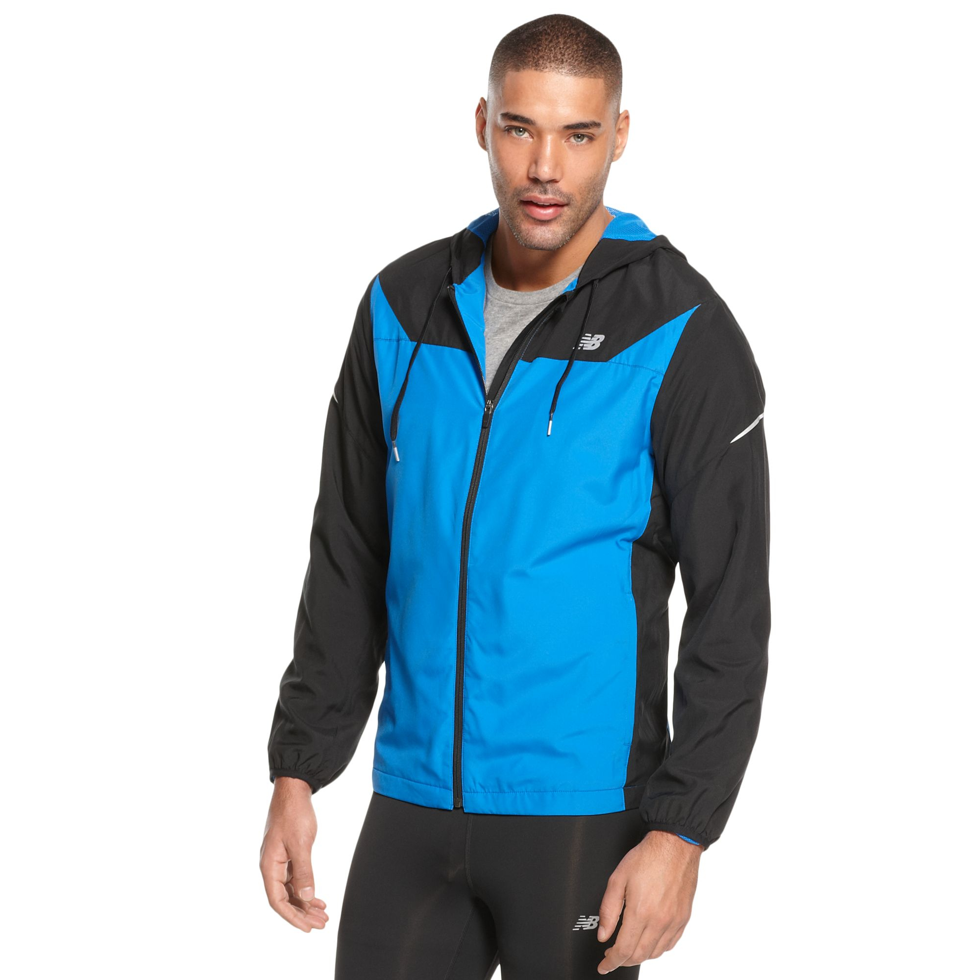 Lyst New Balance Hooded Sequence Running Jacket In Black For Men
