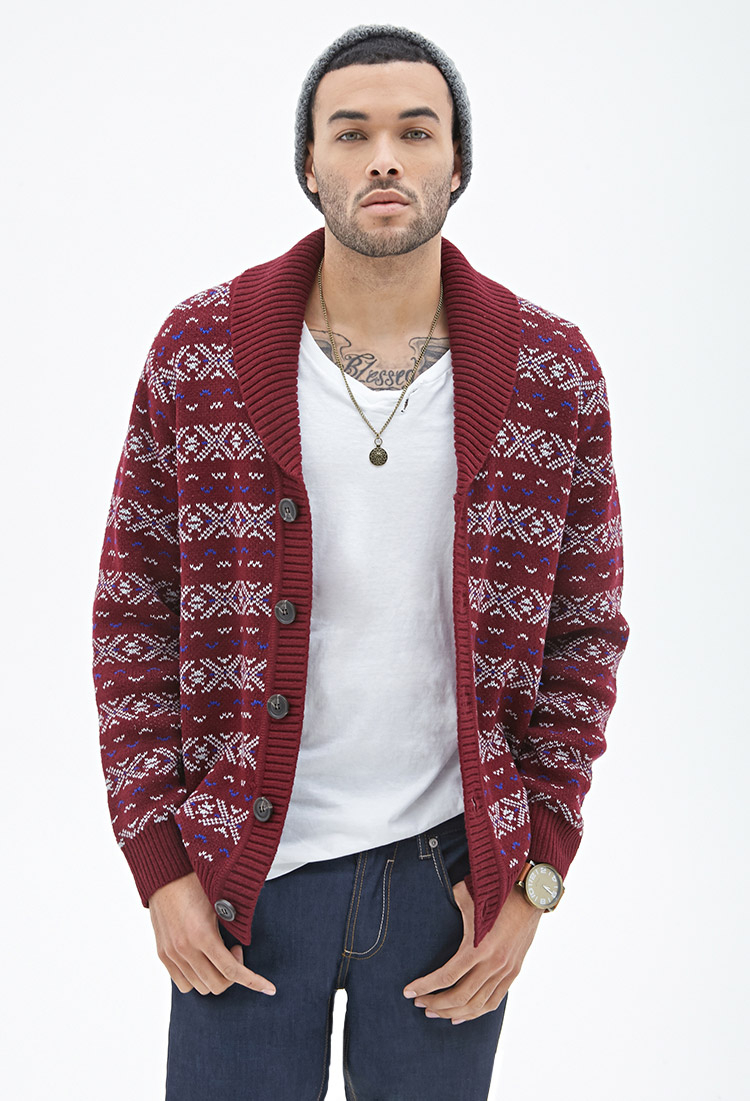 Forever 21 Fair Isle Shawl Cardigan in Purple for Men | Lyst