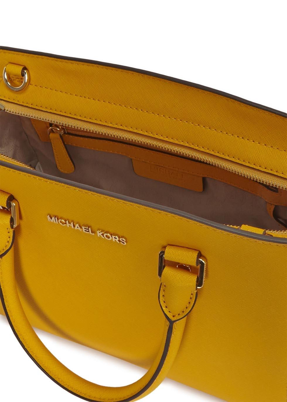 a4dd29b98c73 Michael Kors Selma Medium Mustard Saffiano Leather Tote in Yellow - Lyst