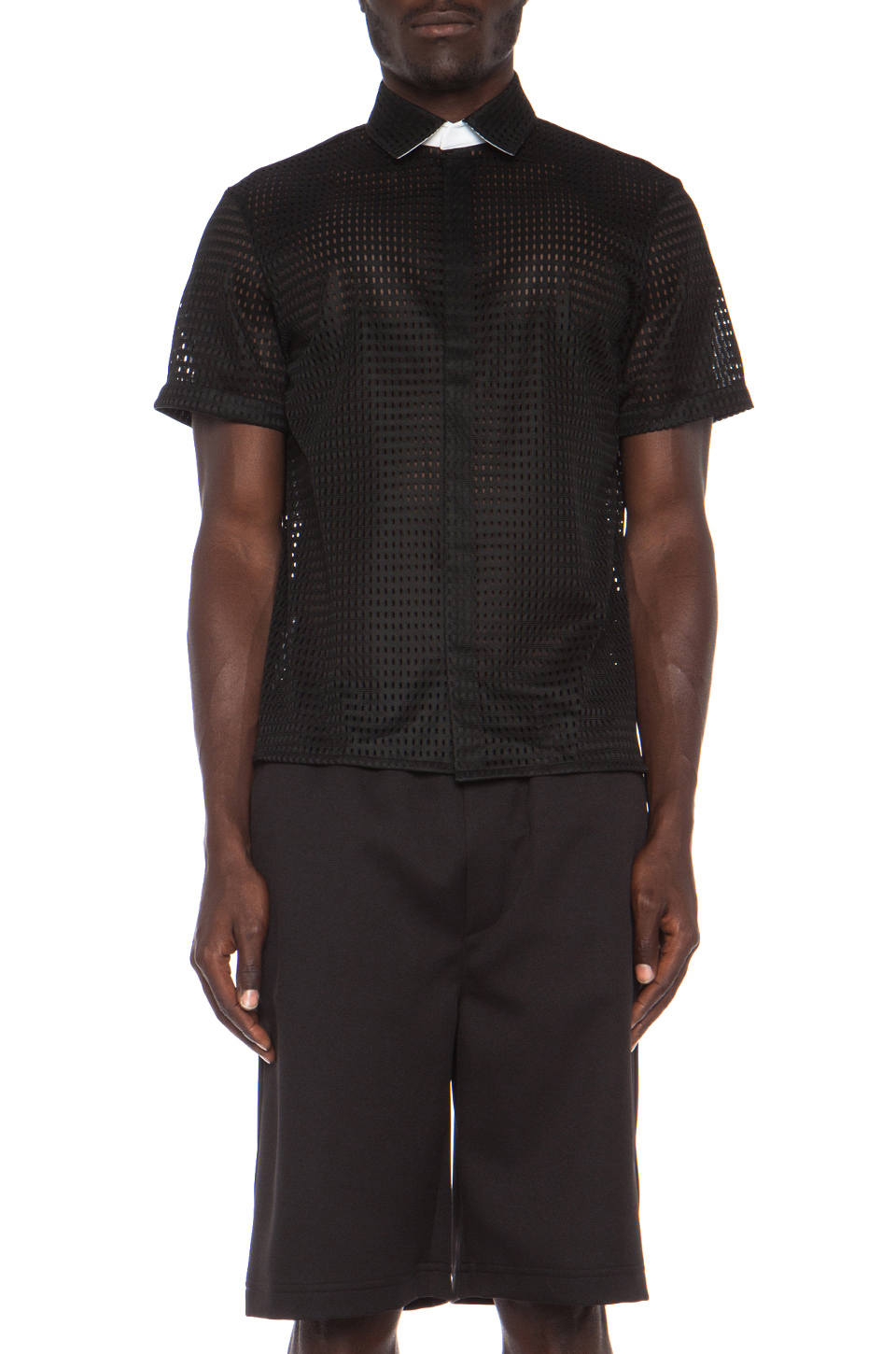 Neil barrett wide straight collar poly shirt in black for Straight collar dress shirt
