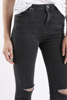 cfe3e68f885 TOPSHOP Moto Washed Black Ripped Jamie Jeans in Black - Lyst