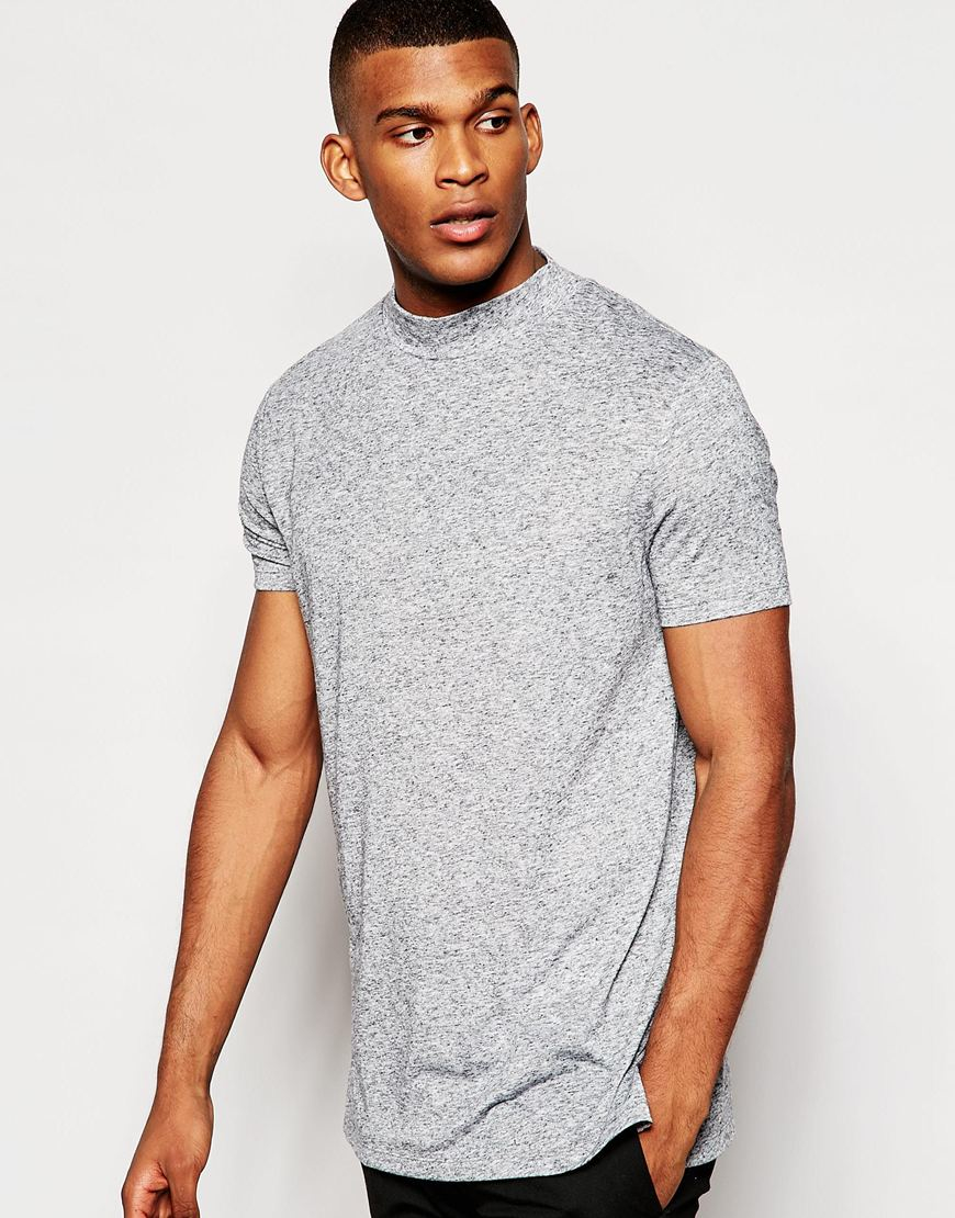Lyst asos longline t shirt with turtle neck in relaxed for Turtleneck under t shirt
