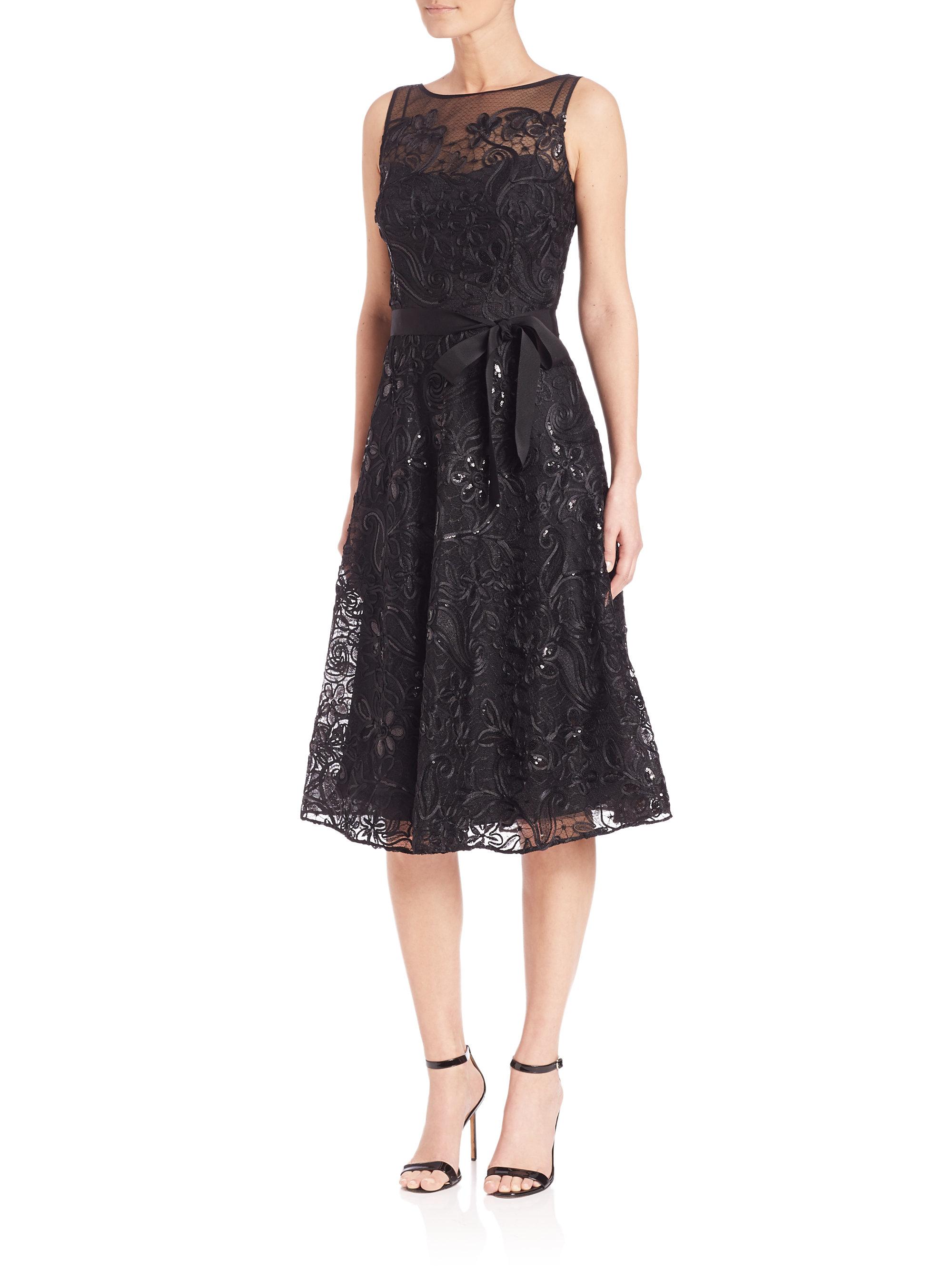 teri jon belted lace dress in black lyst
