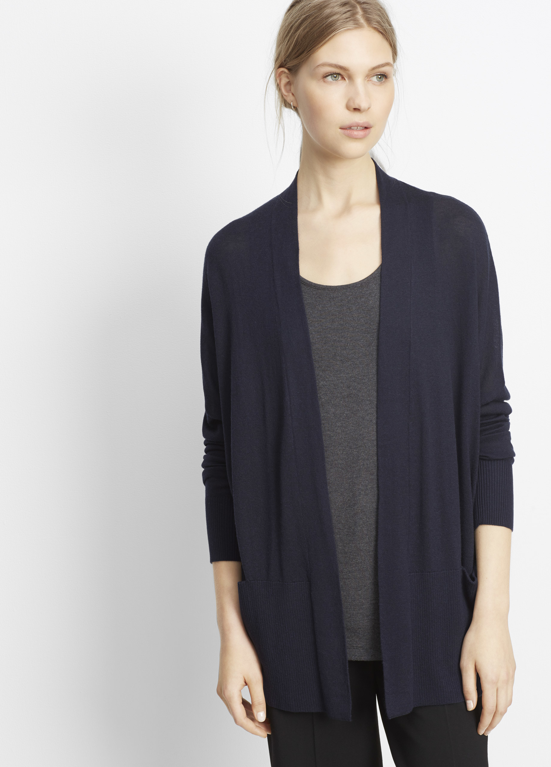 Vince Silk Cashmere Open Front Cardigan in Blue | Lyst