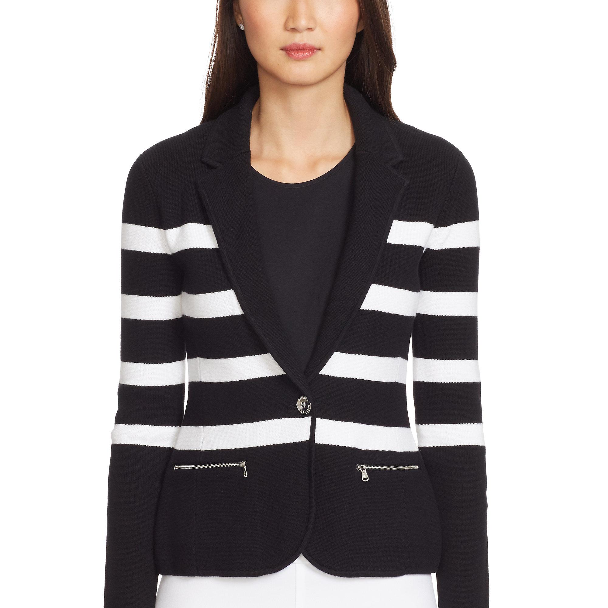 Ralph lauren Striped Cotton Sweater Blazer in White | Lyst