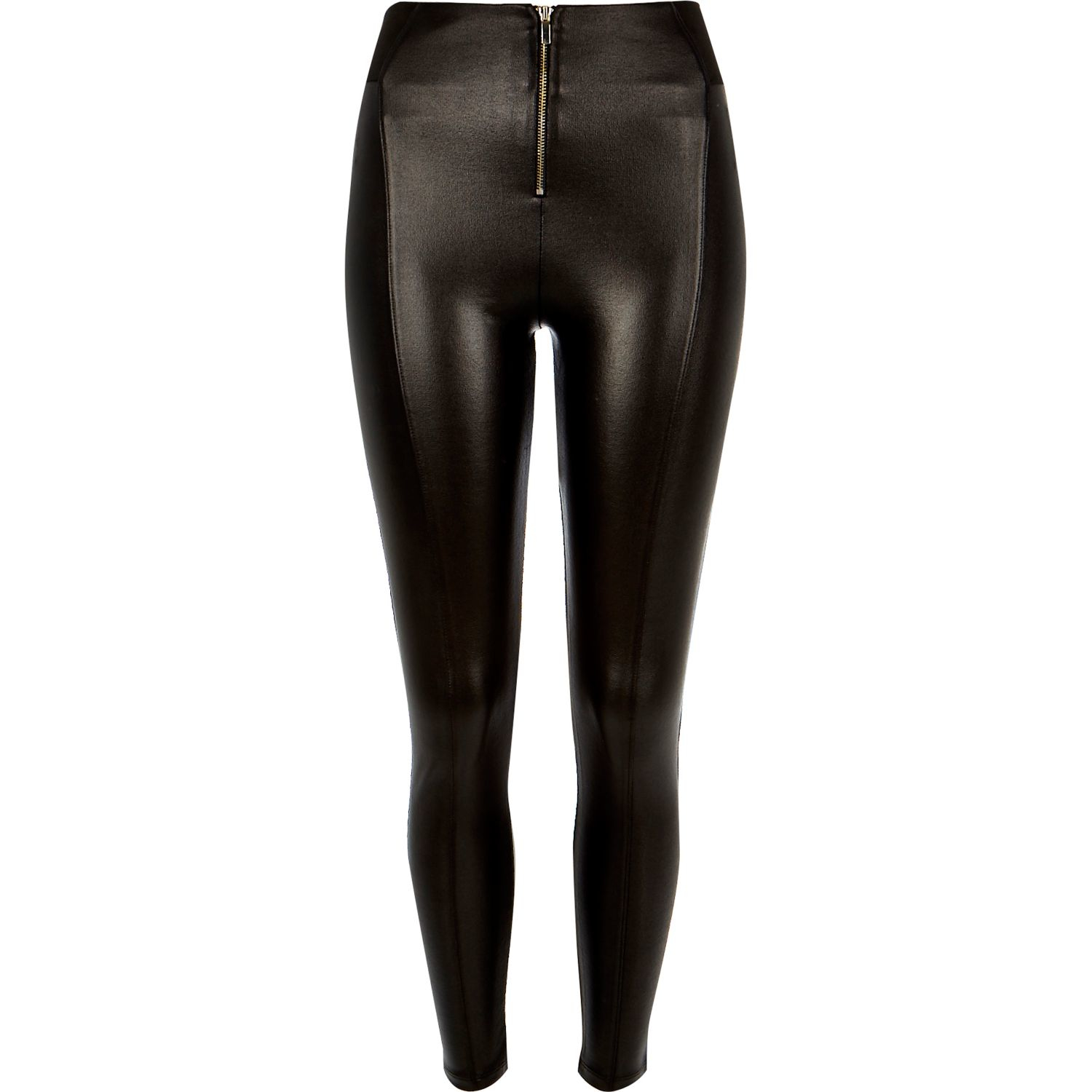 River island Black Coated High Waisted Zip Leggings in ...