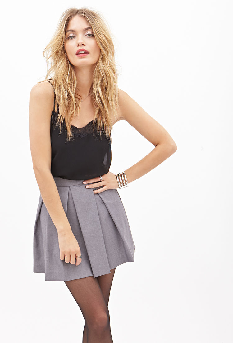 Forever 21 Pleated A-line Mini Skirt in Gray | Lyst