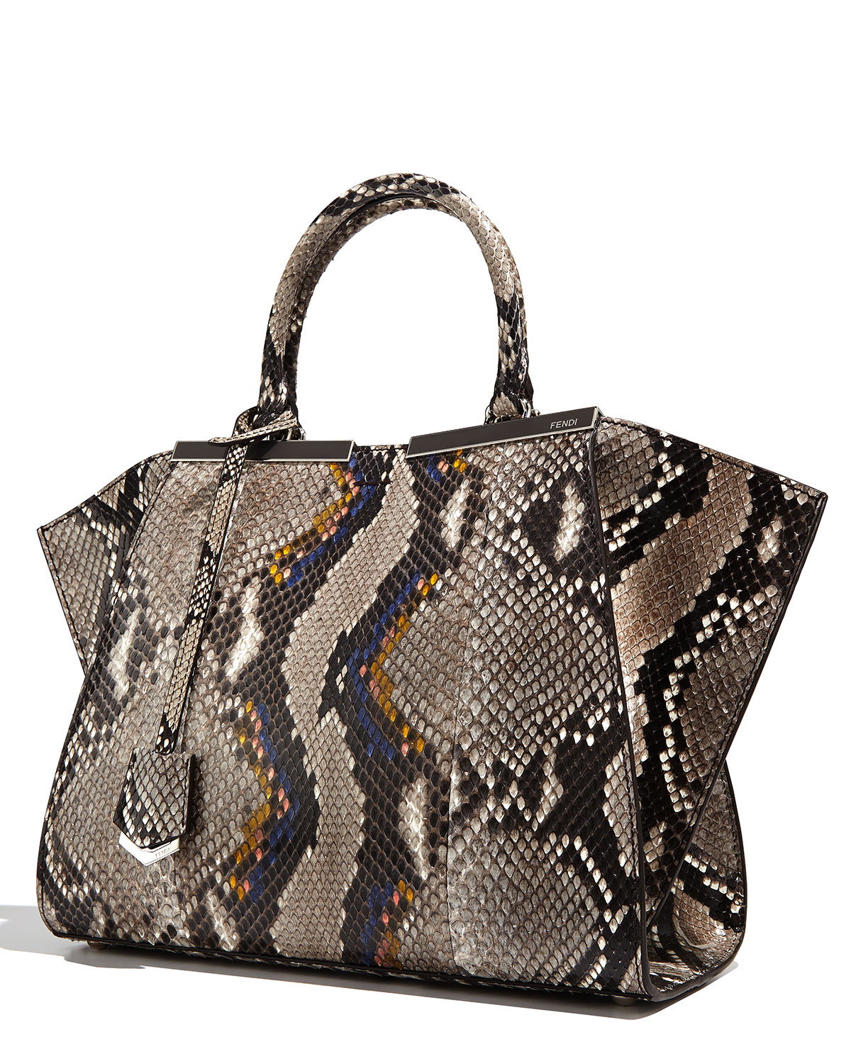 ee3337c81a1d ... france lyst fendi trois jour mini python shopping tote bag in natural  032fb df27d