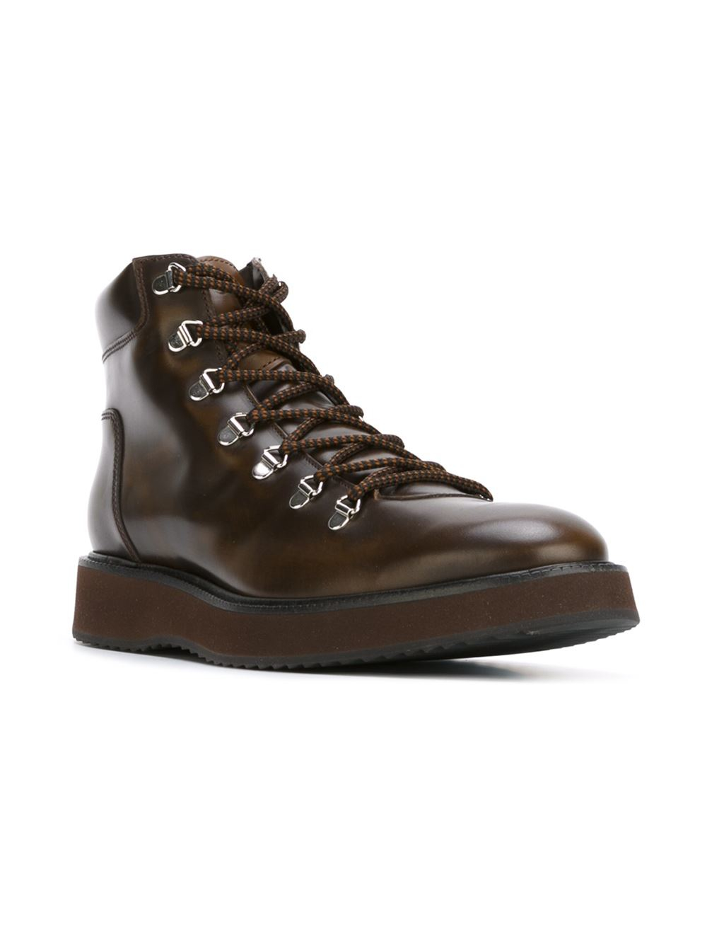 lace up leather ankle boots in brown for lyst