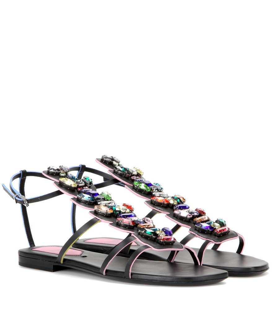 6e417175018f47 Lyst - Fendi Crystal-embellished Leather Sandals in Black