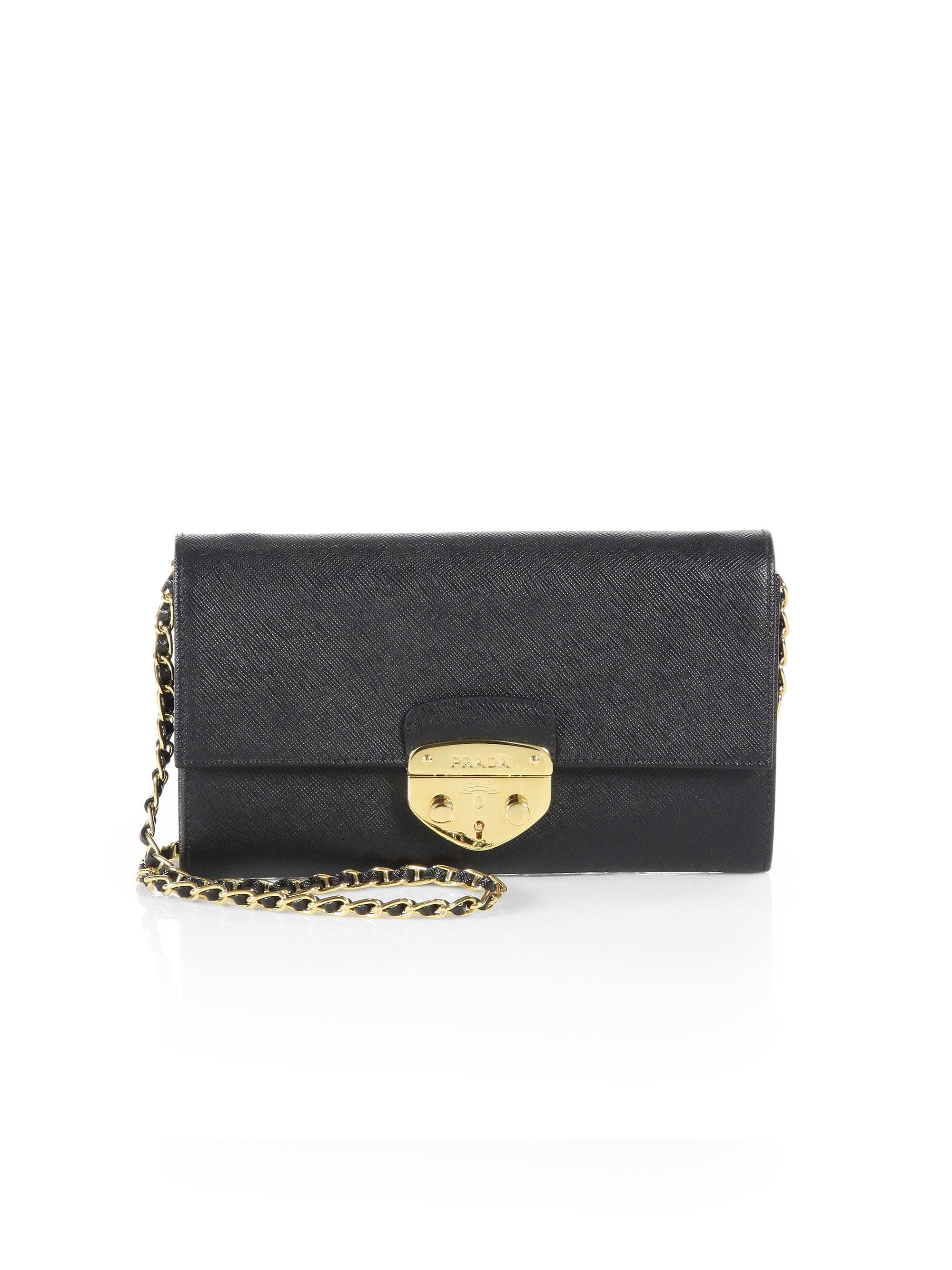 prada red handbag - Prada Saffiano Lux Convertible Chain Wallet in Gray (GREEN) | Lyst