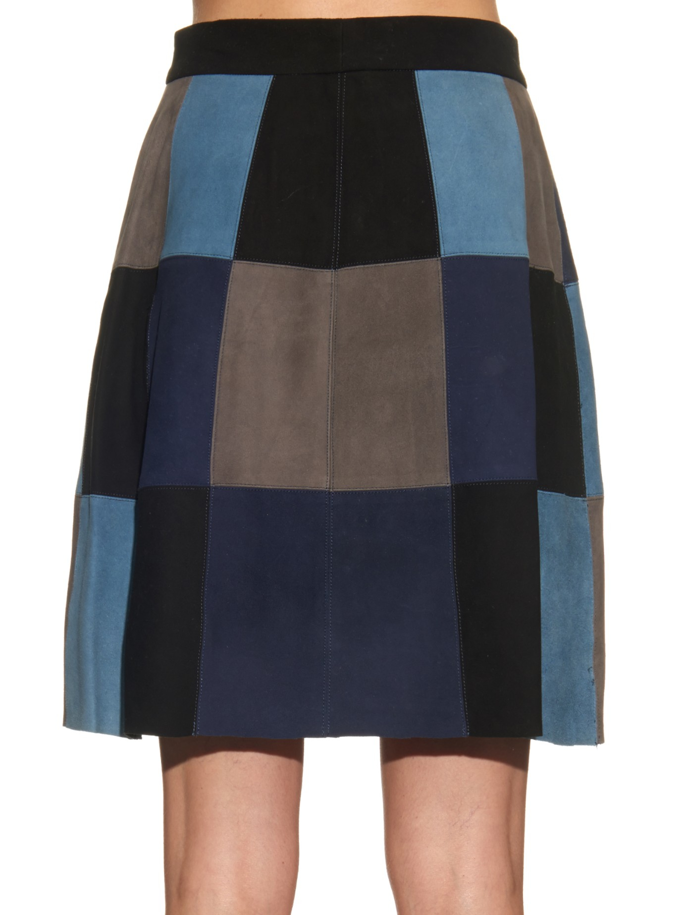 Sea Patchwork Suede Mini Skirt in Blue | Lyst