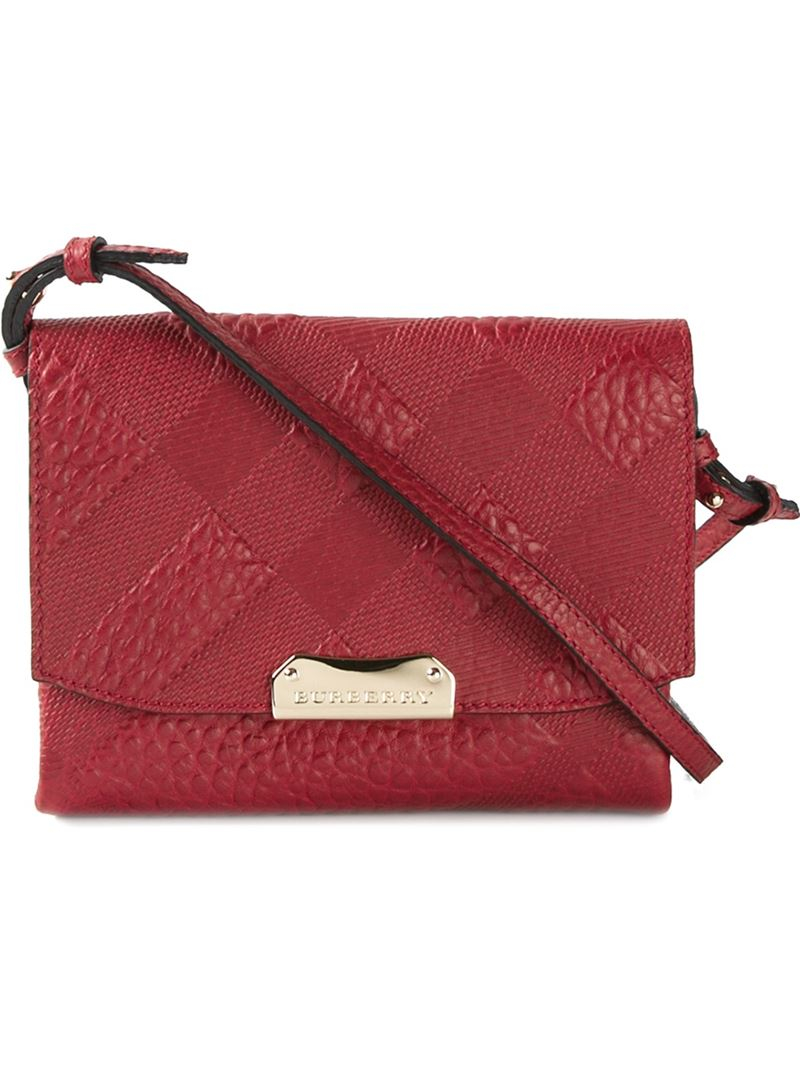 8362b94d487e Burberry Embossed-Check Leather Cross-Body Bag in Red - Lyst