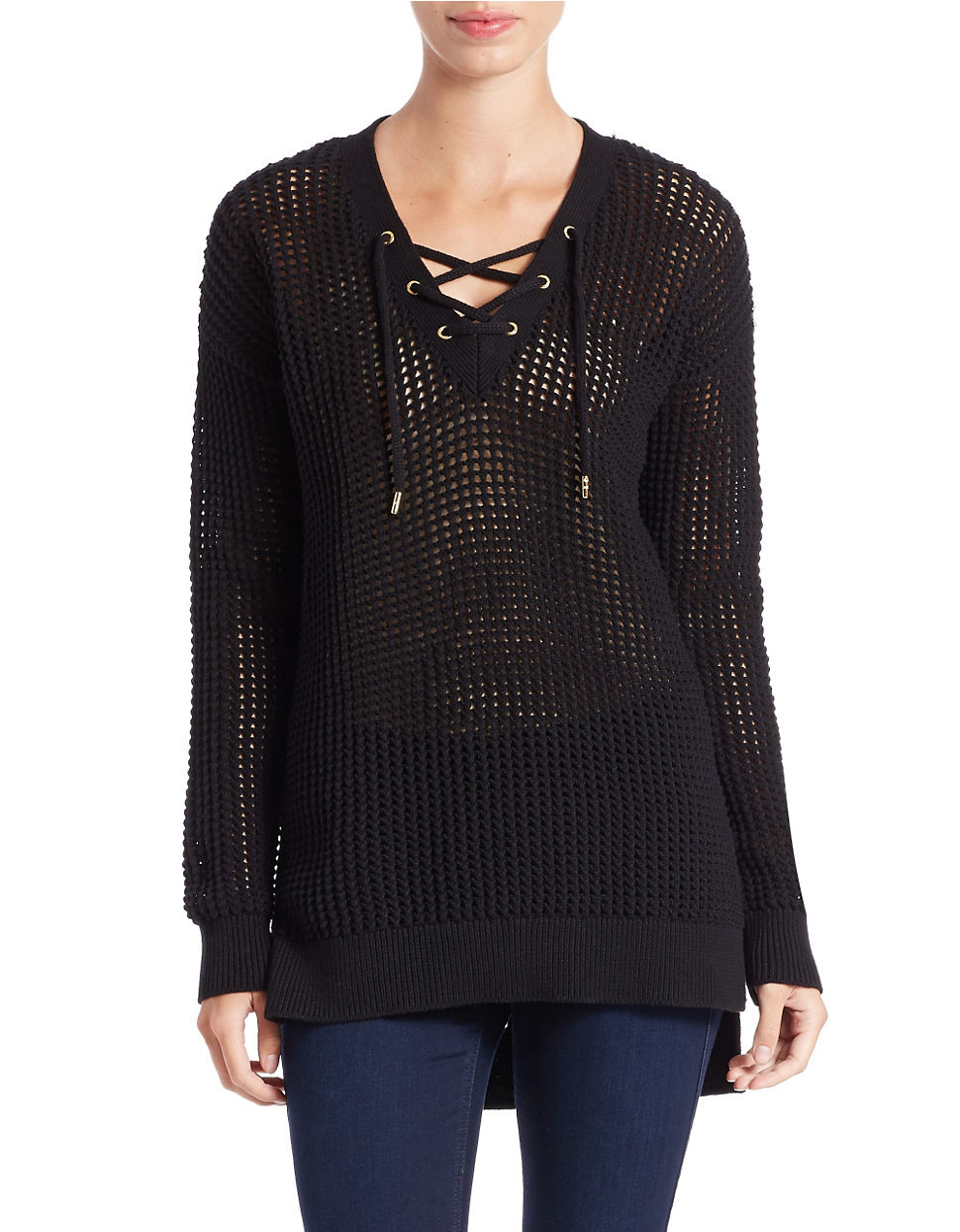 michael michael kors open knit lace up pullover in black lyst. Black Bedroom Furniture Sets. Home Design Ideas