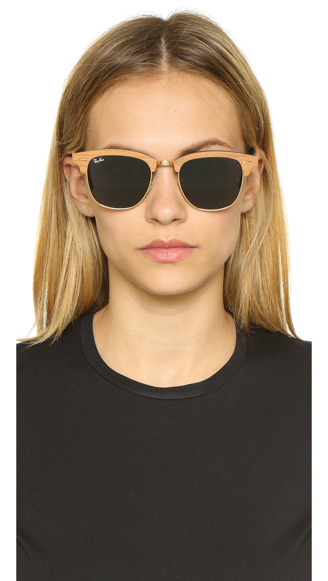 4aa45e6095 ... promo code for ray ban clubmaster wood sunglasses in blue lyst 71751  ae19b