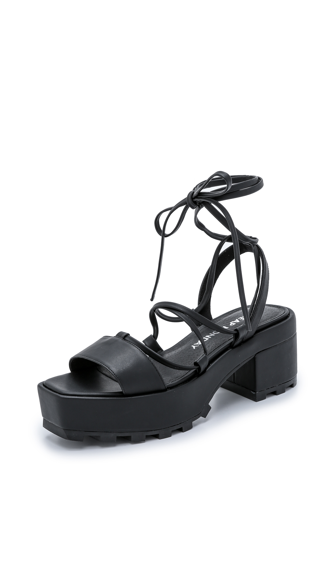 cheap monday trapped platform sandals black in