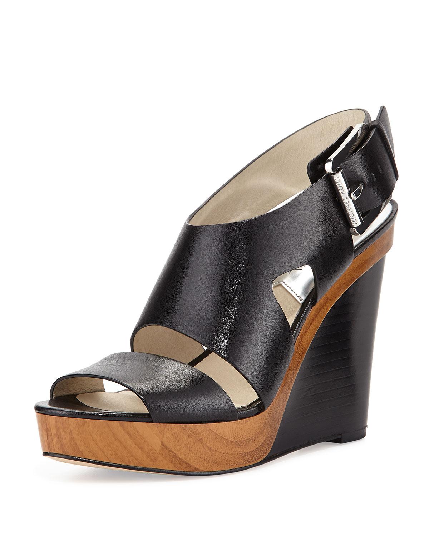 77996829537 Lyst - MICHAEL Michael Kors Carla Platform Wedge Sandals in Black