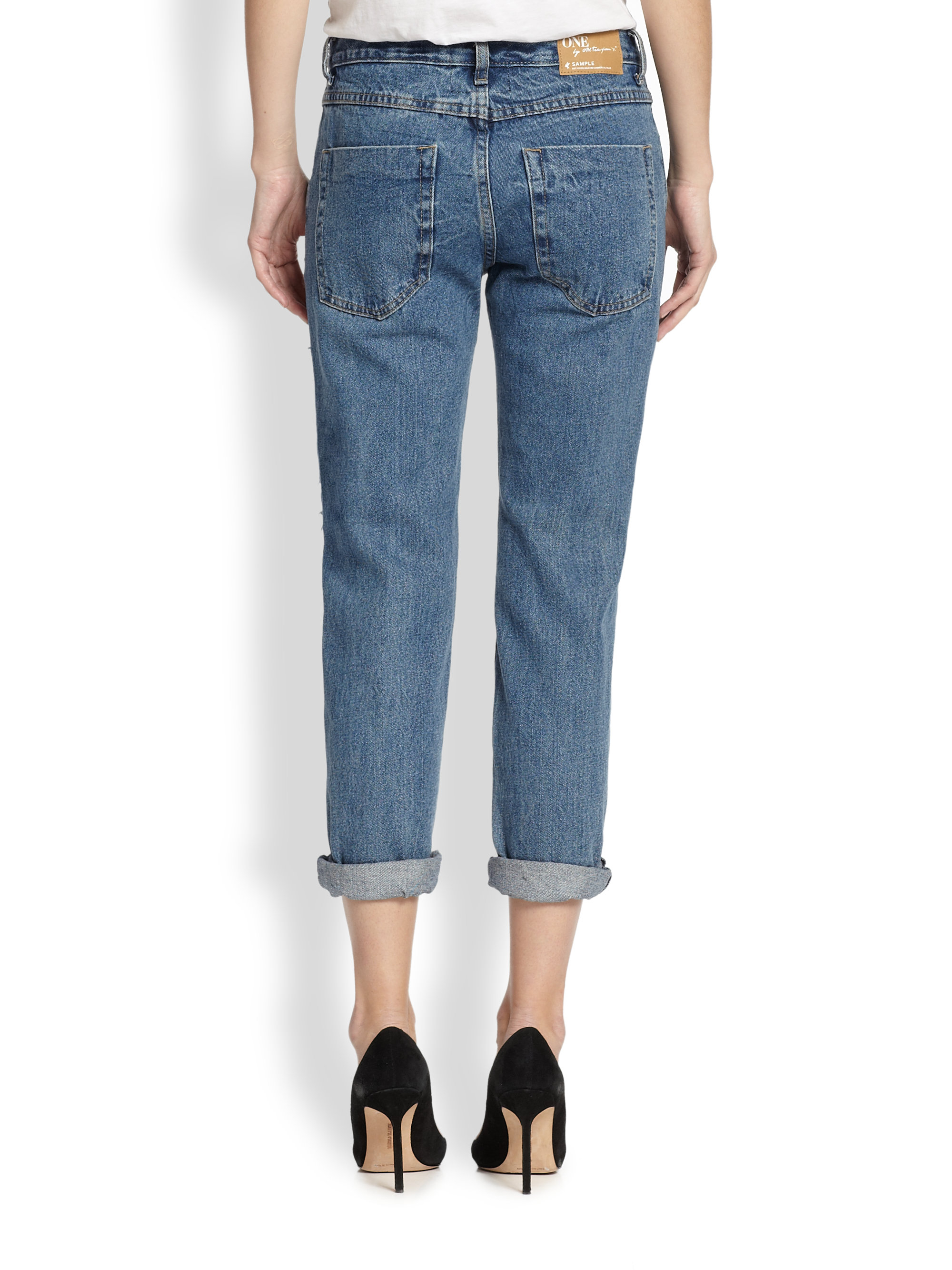 one teaspoon awesome baggies distressed cropped boyfriend jeans in blue lyst. Black Bedroom Furniture Sets. Home Design Ideas
