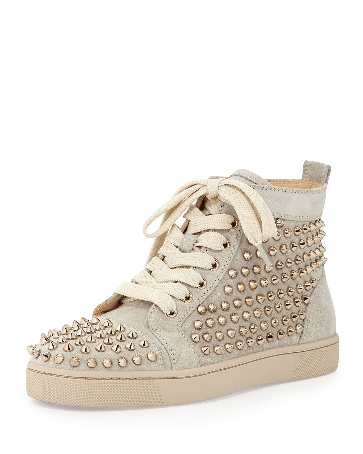 6979190d6f65 Lyst - Christian Louboutin Louis Spiked Suede Sneaker in Natural