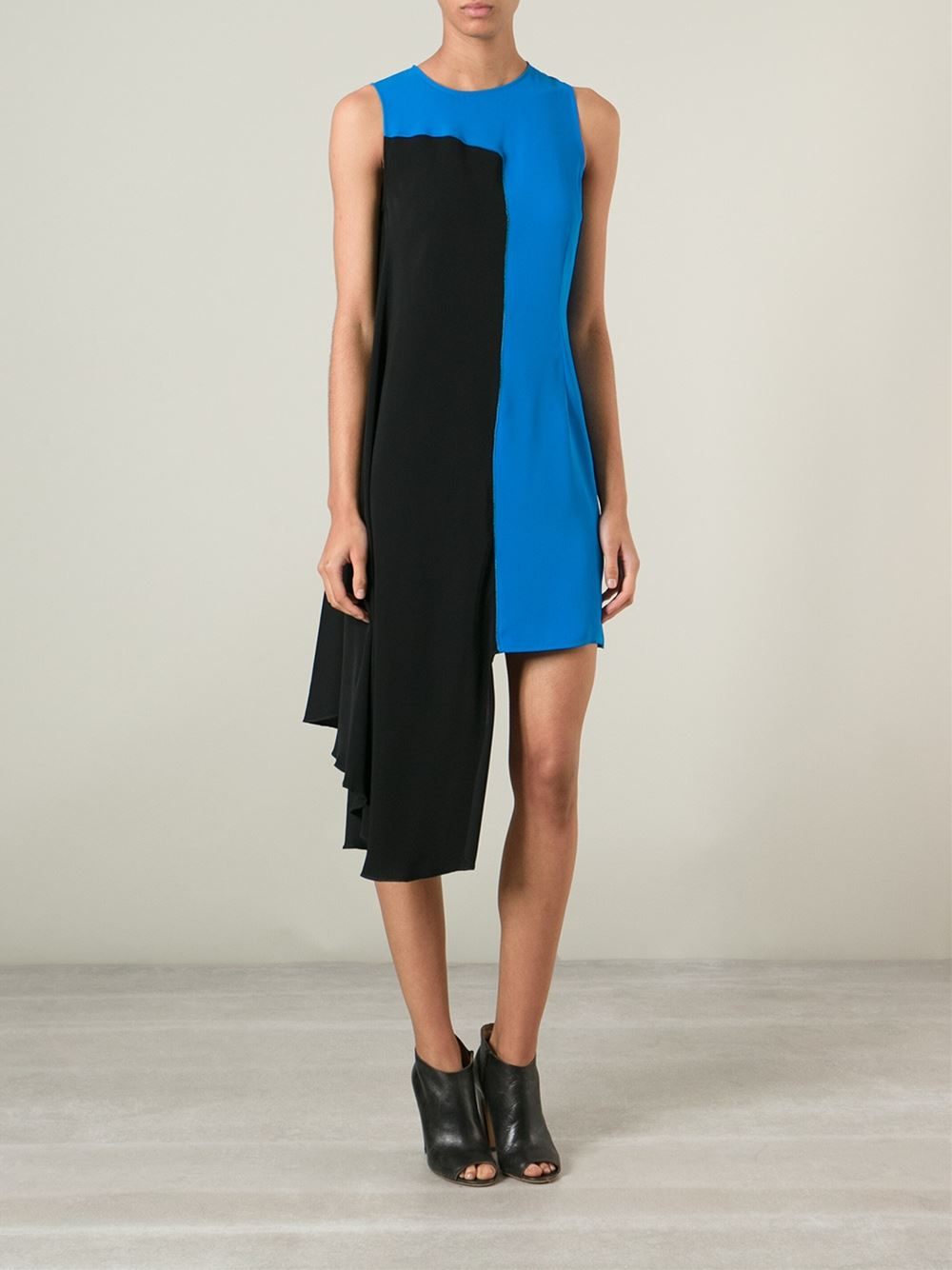 Mm6 by maison martin margiela draped colour block dress in for Mm6 maison margiela