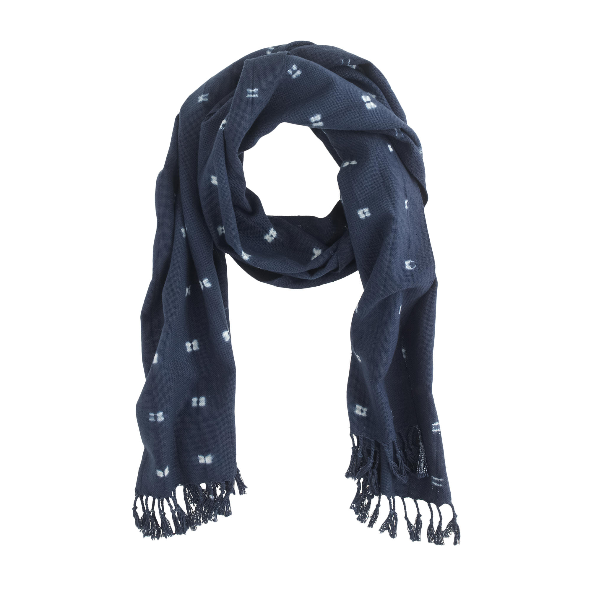 j crew tie dye indigo scarf in blue atlantic lyst
