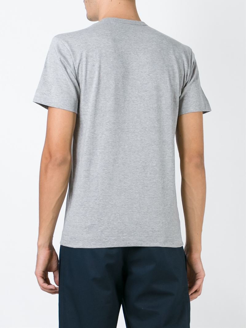 Play Comme Des Gar Ons Embroidered Heart T Shirt In Gray