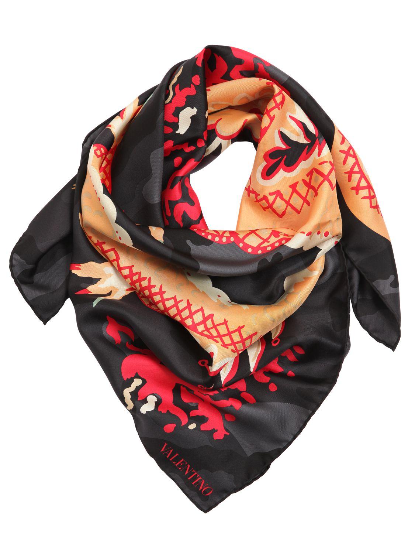 Dragon-print silk scarf Valentino oXDRTk