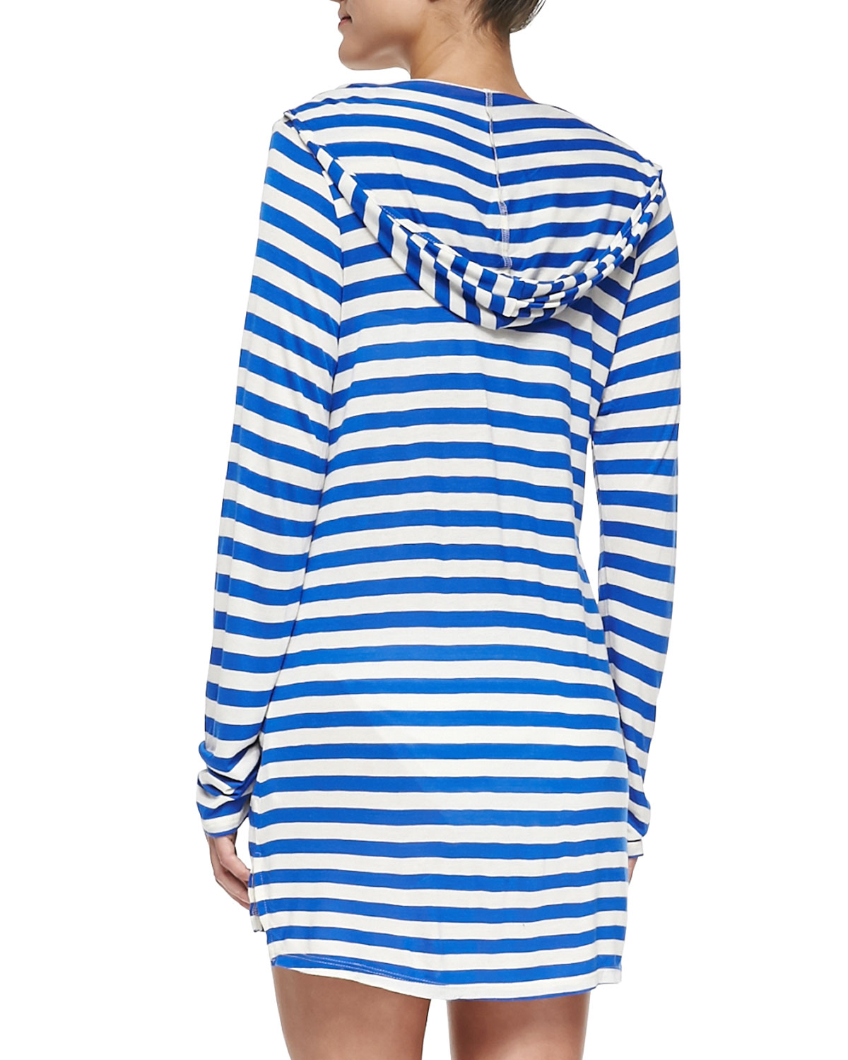 5b6402a78cd12 Ella Moss Striped Hooded Long-Sleeve Coverup in Blue - Lyst