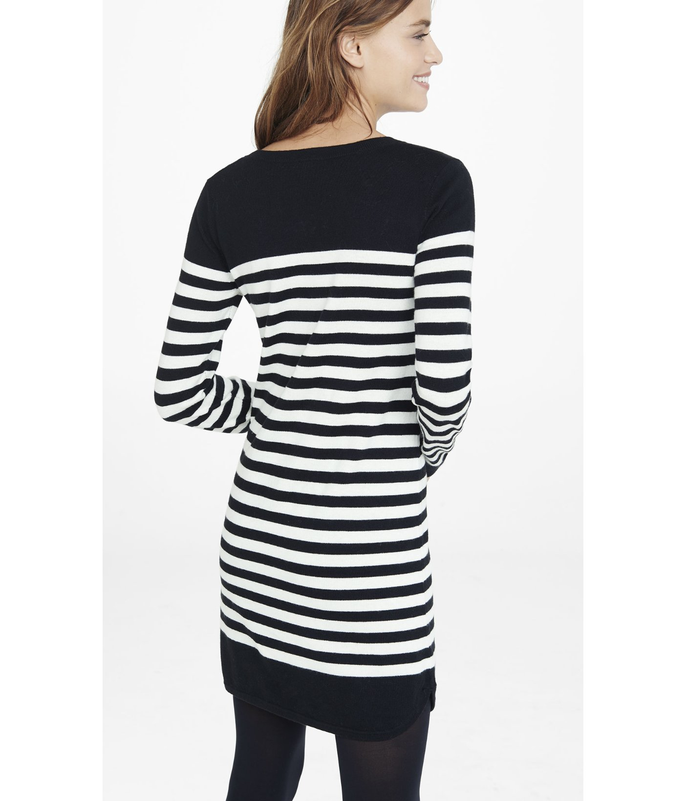Lyst Express Black And White Striped Sweater Dress In Black