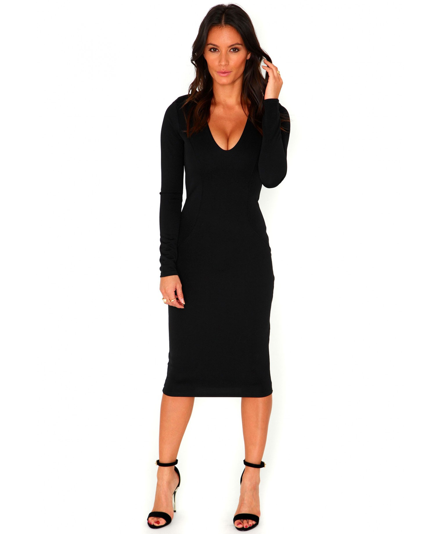 Missguided velvet racer high neck midi dress black in black lyst - Gallery