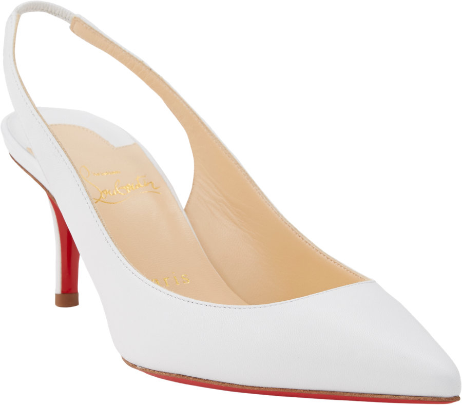White Kitten Heel Slingback Shoes