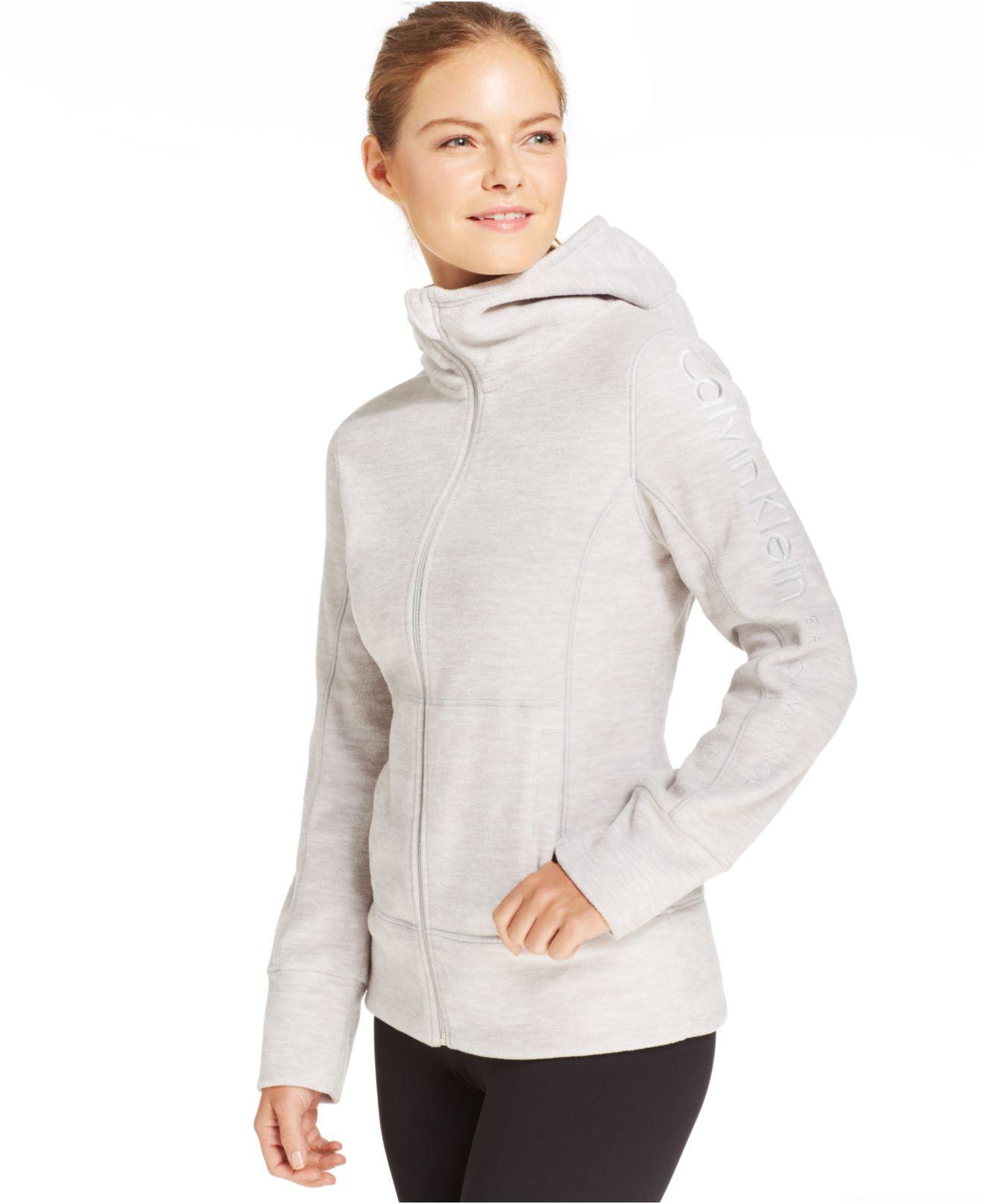 4e91a557e5d2 Lyst - Calvin Klein Performance Logo Zip-Up Hoodie in White