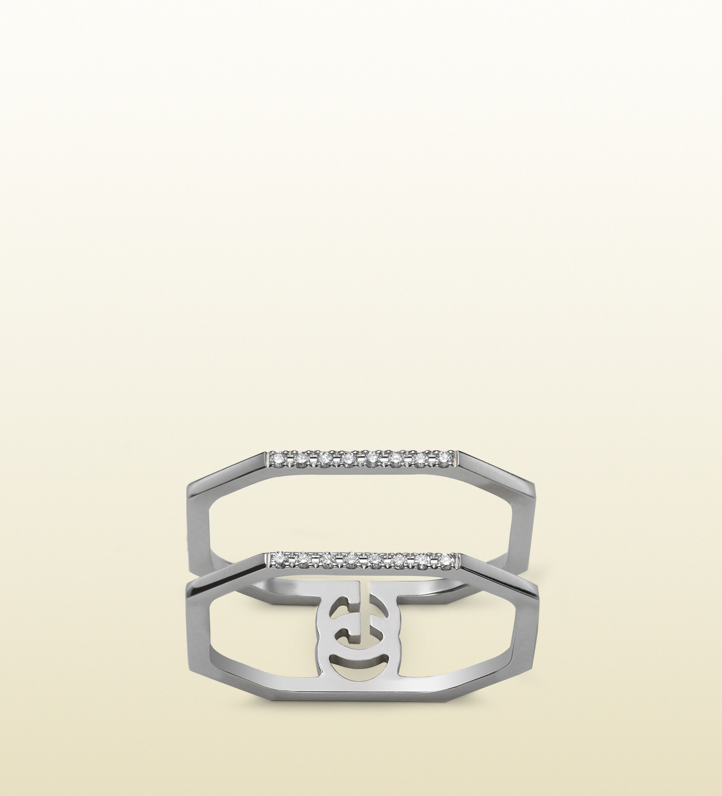 gucci white gold and running g ring in silver