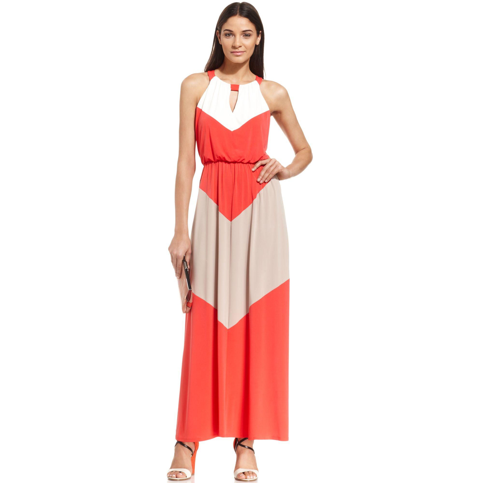 Lyst Vince Camuto Colorblock Chevron Halter Maxi Dress