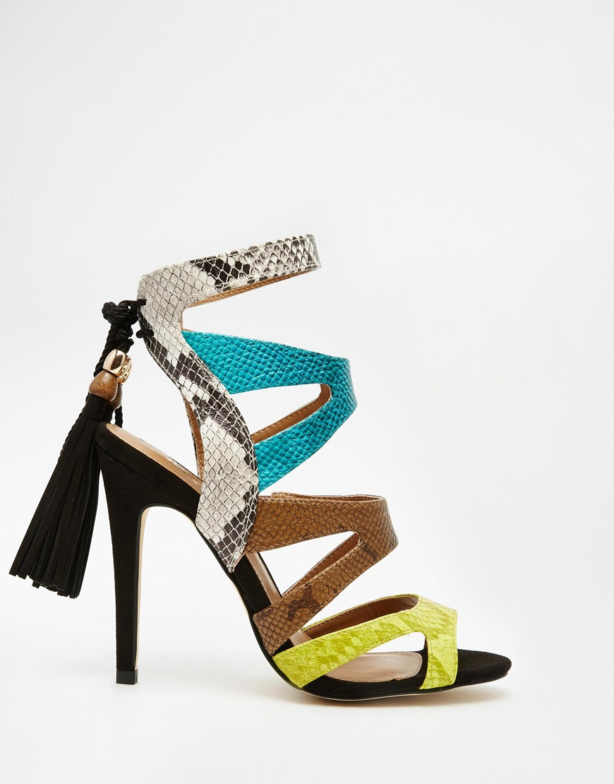 2933c1d6ce0 Lyst - Miss Kg Forest Multi Colored Strappy Sandals