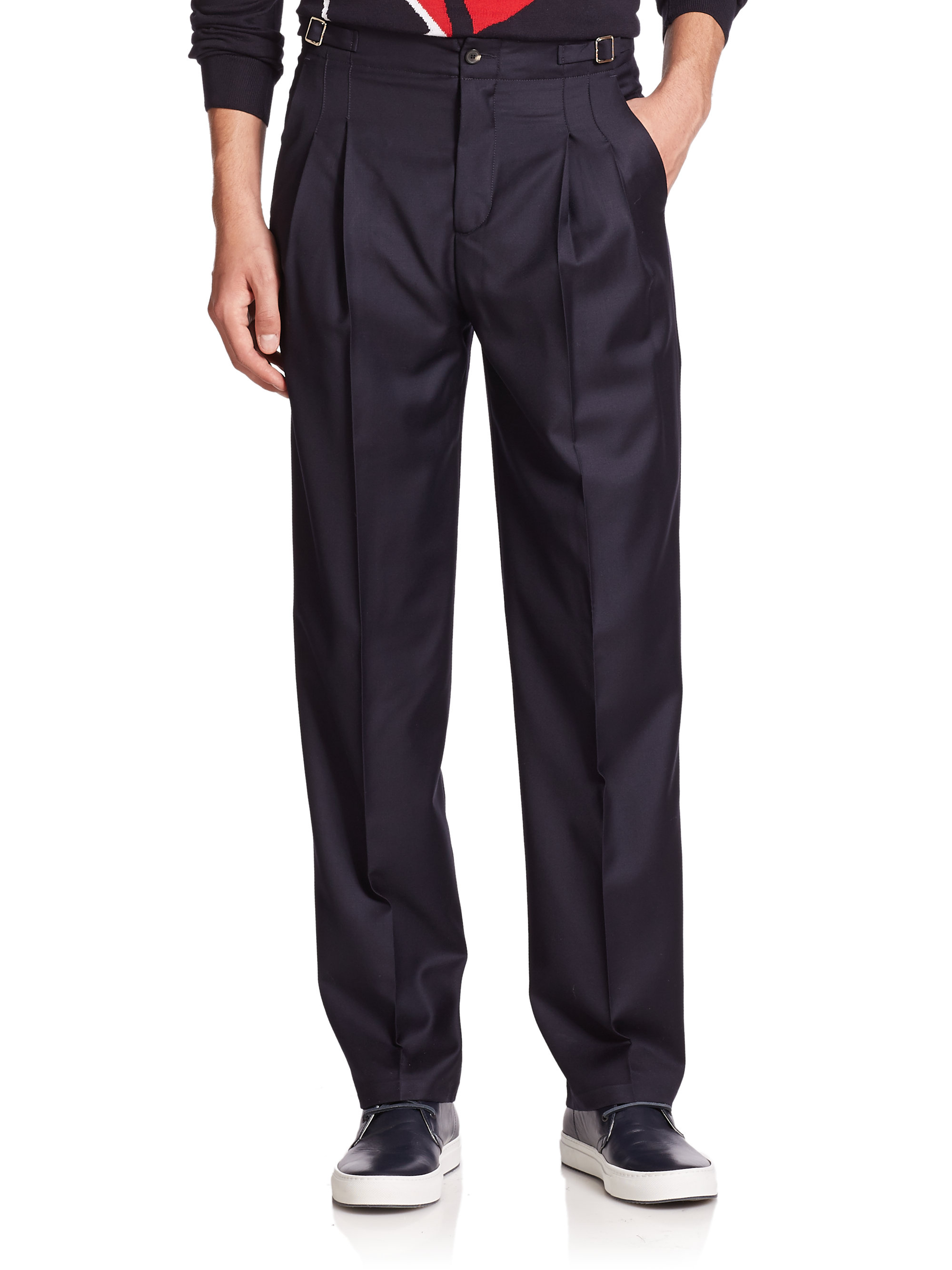 Lyst Editions Mr High Waist Pleated Dress Pants In Blue For Men
