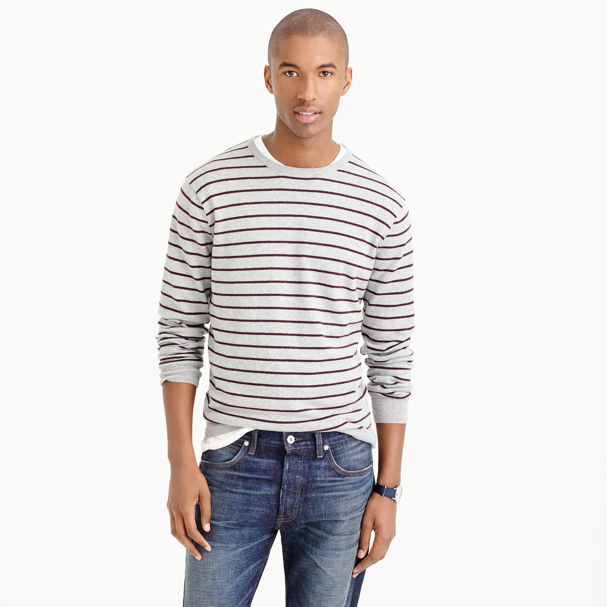 J.crew Cotton-cashmere Sweater In Heather Fine Stripe in Natural ...