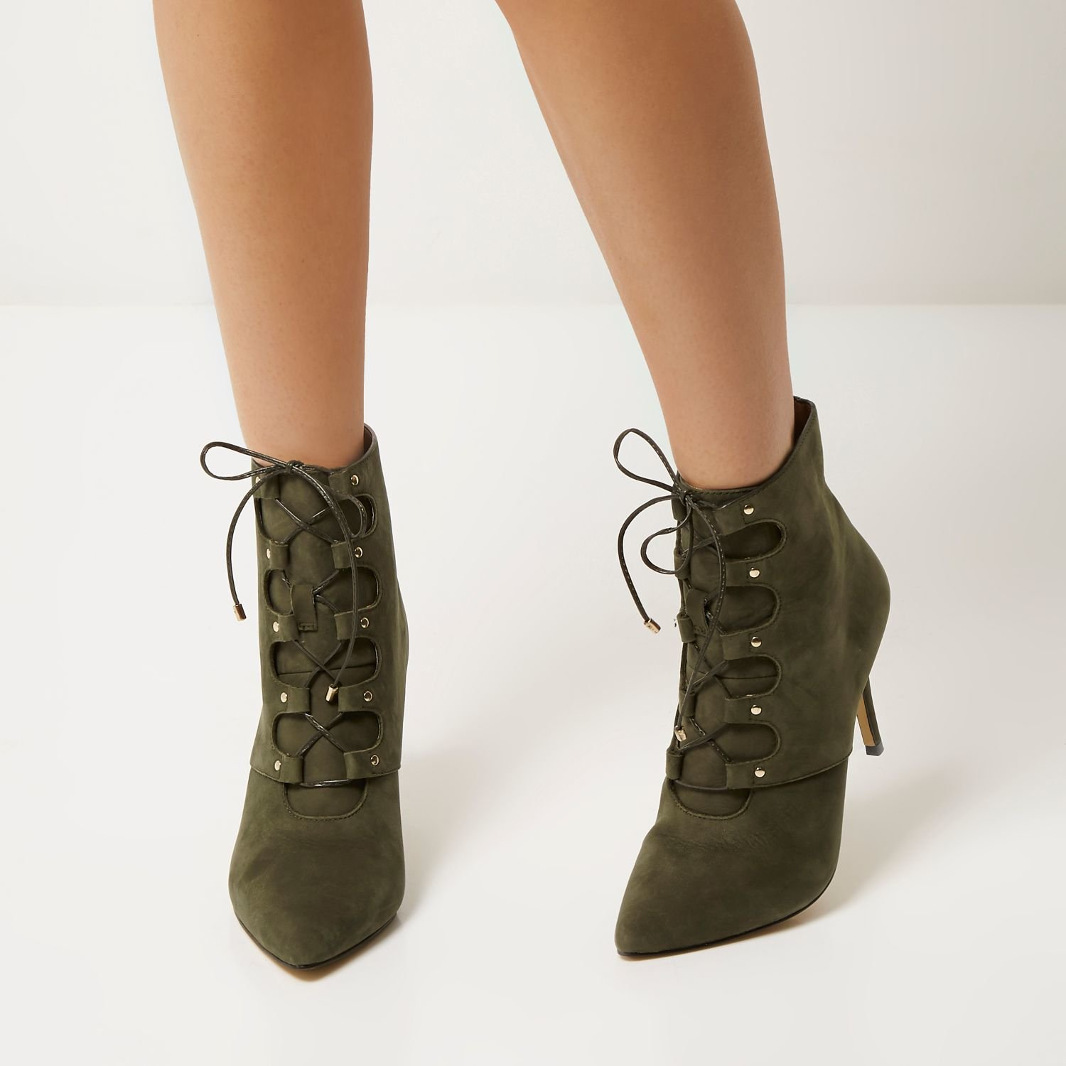 River Island Khaki Leather Lace Up Pointed Heeled Boots In