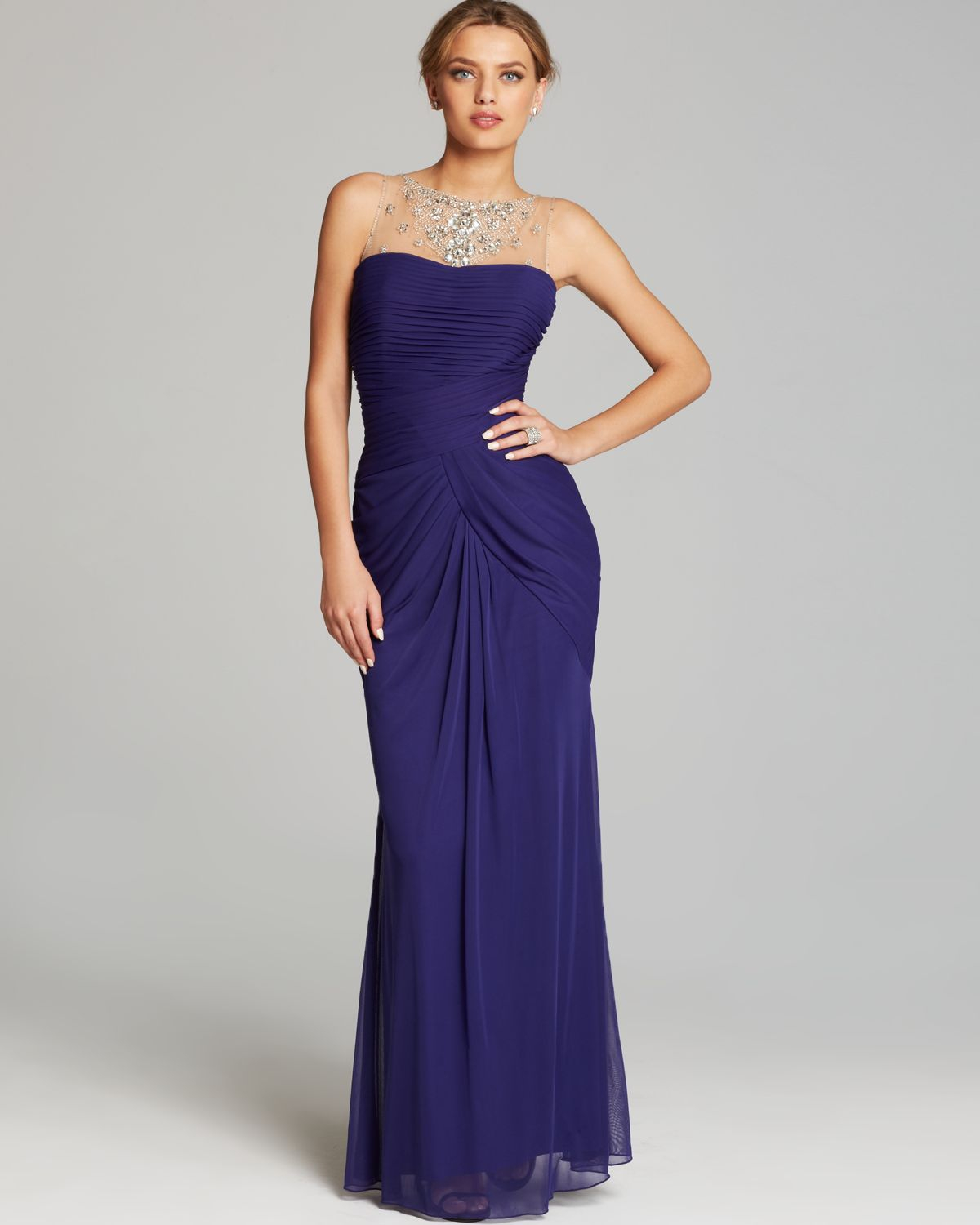 Lyst - Adrianna Papell Gown Sleeveless Illusion Neckline Draped in ...