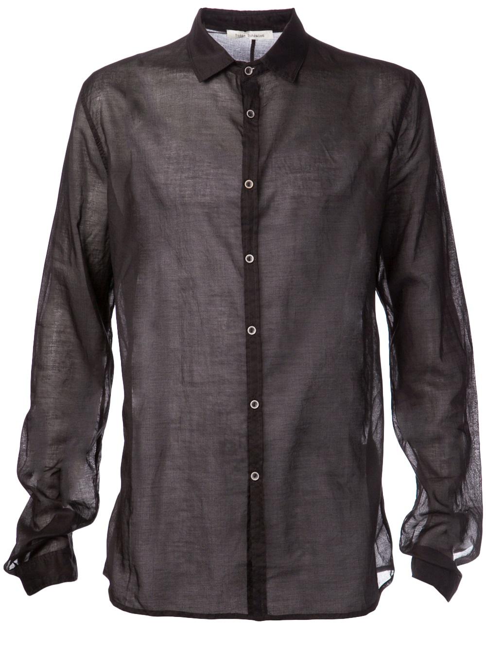 Lyst Poeme Bohemien Sheer Dress Shirt In Black For Men