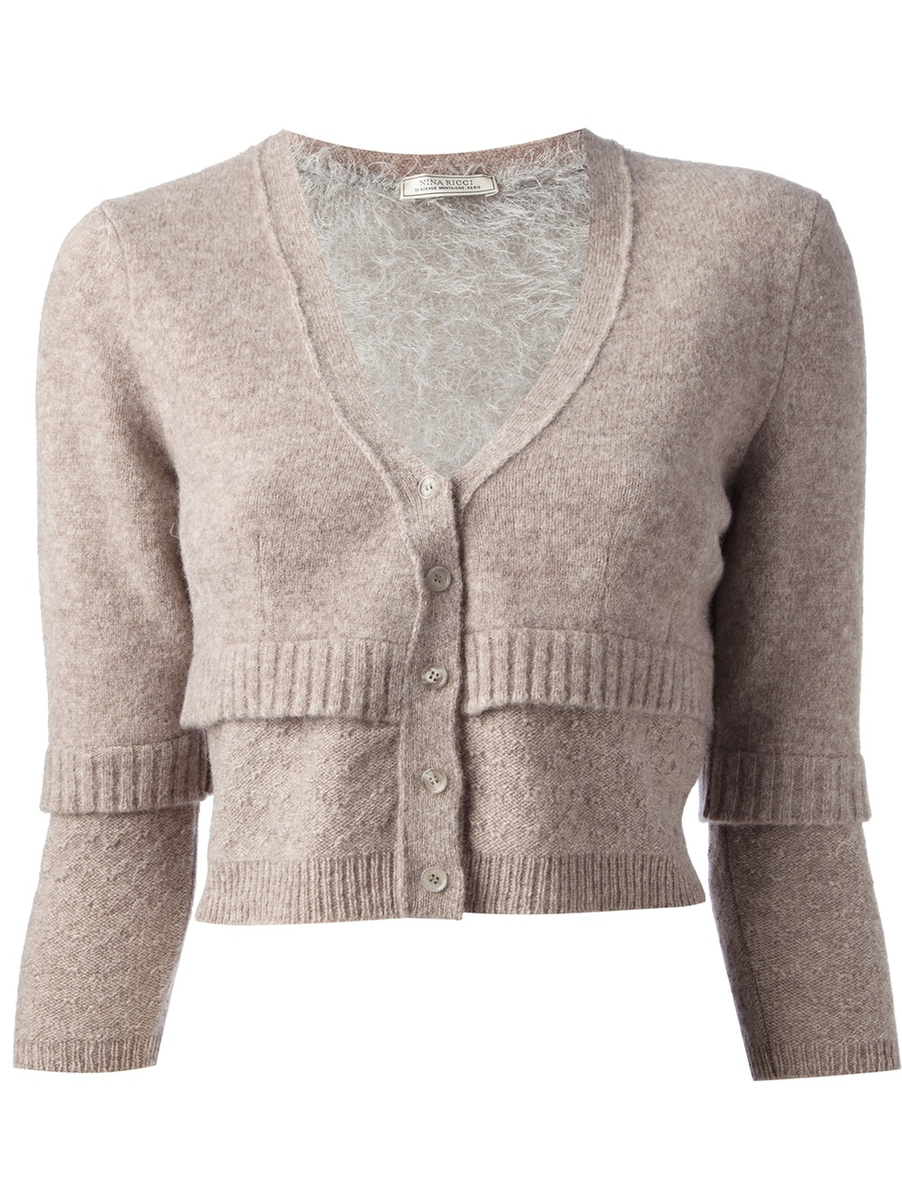 Nina ricci Cropped Cardigan in Natural | Lyst