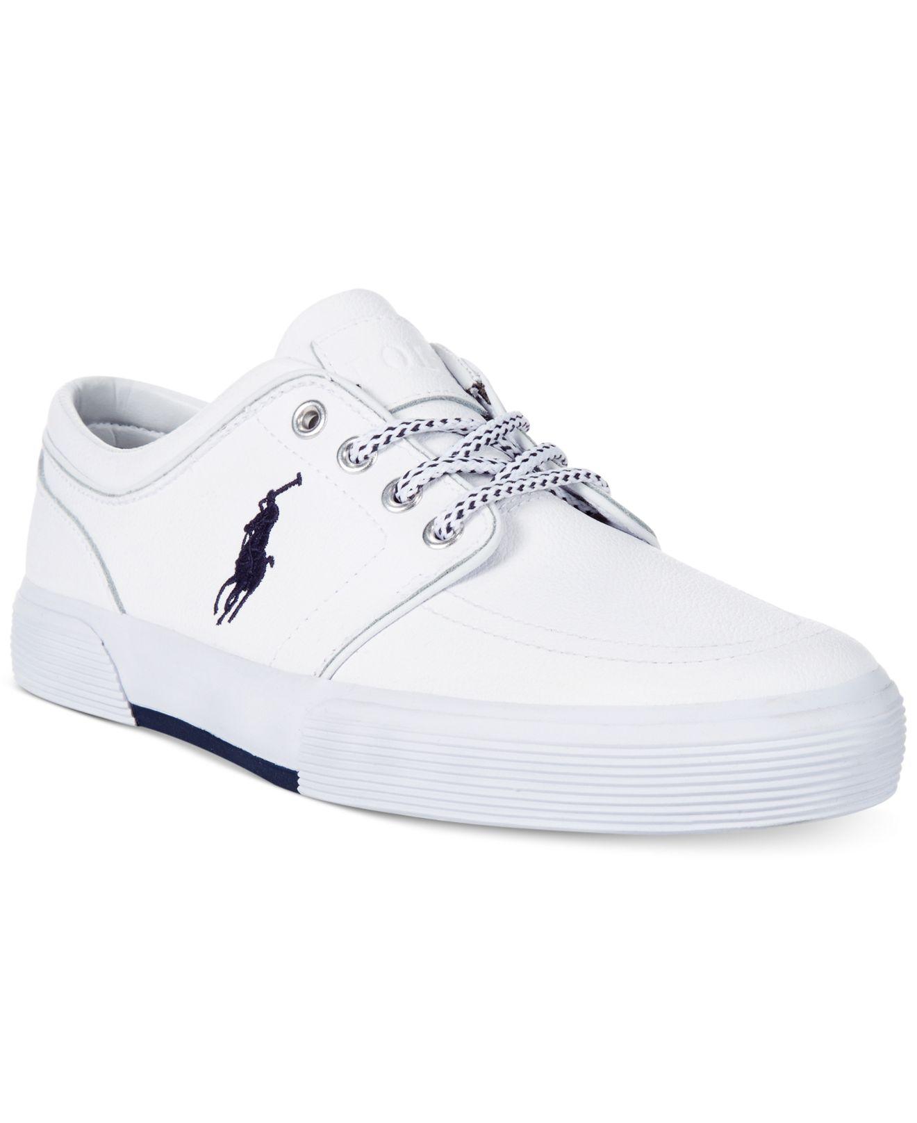 polo ralph faxon low leather sneakers in white for