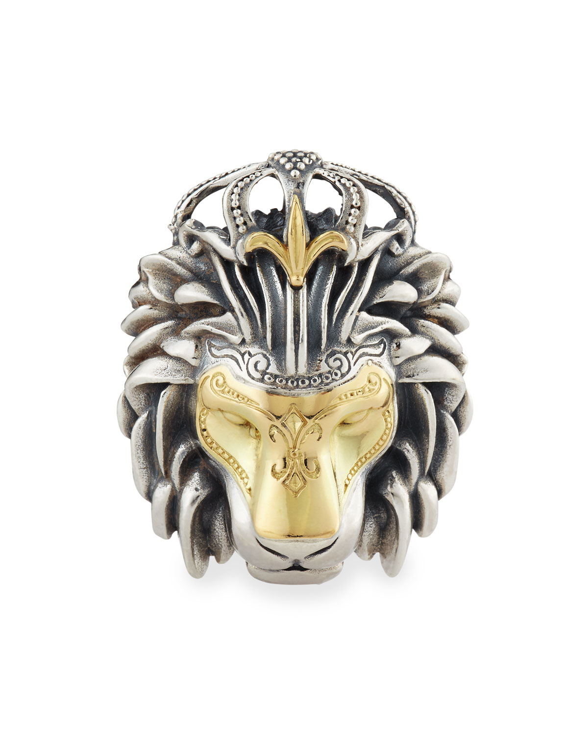 Lyst konstantino mens minos sterling silver gold lion head gallery aloadofball Image collections