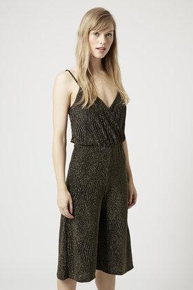f987401d7b0f TOPSHOP Glitter Wrap Culotte Jumpsuit in Metallic - Lyst