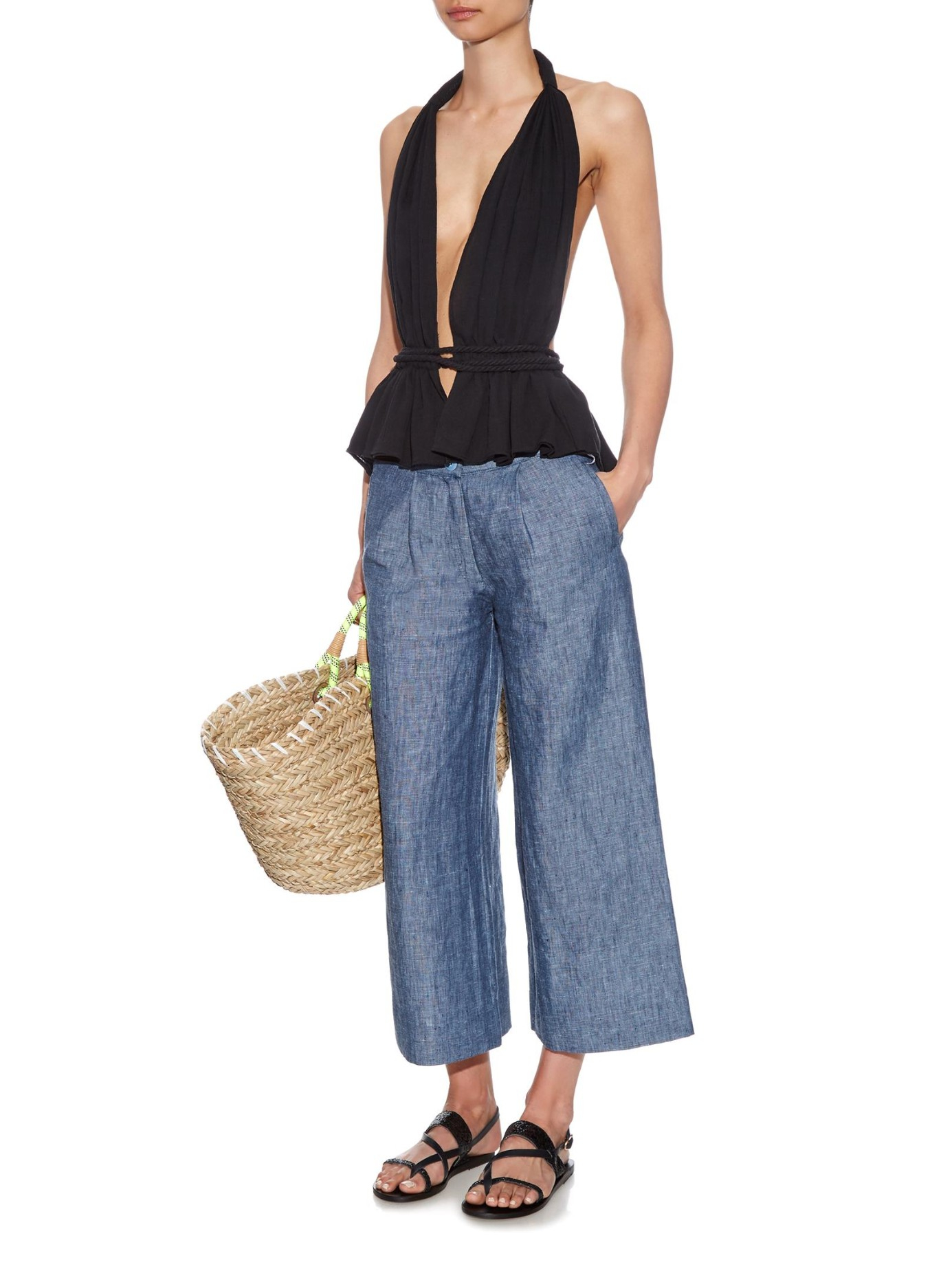 Loup charmant Brunswick Wide-leg Cropped Linen Trousers in Blue | Lyst