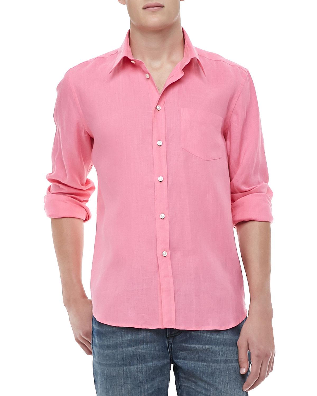 Vilebrequin linen long sleeve shirt in pink for men lyst for Linen long sleeve shirt
